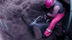 Water pipe repair sawing Stock Footage