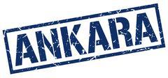 Ankara blue square stamp Stock Illustration