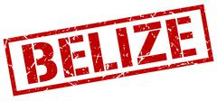 Belize red square stamp Stock Illustration