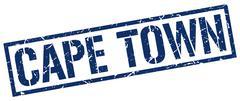 Cape Town blue square stamp Stock Illustration
