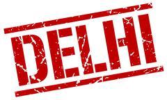Delhi red square stamp Stock Illustration