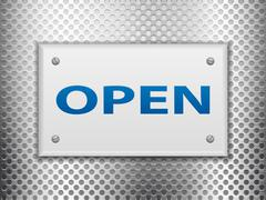 Open sign board on metal Stock Illustration