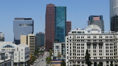 Zoom Out of Traffic / Downtown Los Angeles Skyline Daytime Stock Footage