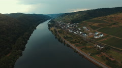 Flying over the Moselle River, Germany Stock Footage