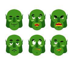 Emotions ogre. Set emoji expressions avatar green monster. Good and evil gobl Stock Illustration