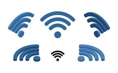 Wi fi sign isometric. Logo for wireless network. Transmission of information  Stock Illustration
