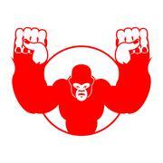 Angry gorilla. Aggressive big monkey. irritated wild animal. logo for sports  Stock Illustration