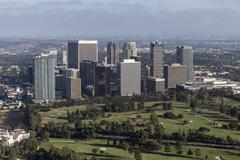 Afternoon Aerial View of Century City in Los Angeles California - stock photo