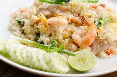 Unique style Thai shrimp fried rice serves on the dish Stock Photos