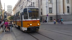 Old Yellow Tram in the Streets of Sofia in Bulgaria Stock Footage