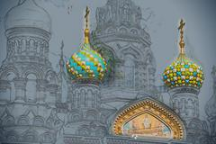 Church of the Savior on Blood in Saint-Petersburg, Russia Stock Illustration