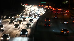Traffic on the 101 Freeway in Los Angeles - Night Stock Footage