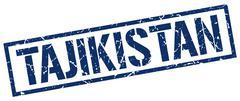 Tajikistan blue square stamp Stock Illustration