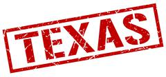 Texas red square stamp Stock Illustration