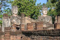 Ancient buddha statue in Kamphaeng Phet Historical Park, Thailand Stock Photos
