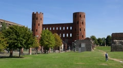 Turin - Porta Palatina archeological park in summer Stock Footage