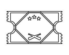 baseball game ticket icon - stock illustration