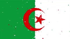Celebratory animated background of flag of Algeria appear from fireworks Stock Footage