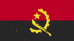 celebratory animated background of flag of Angola appear from fireworks - stock footage