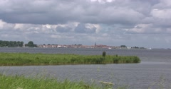 Skyline Volendam, a characteristic Dutch fishing village Stock Footage