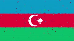 Celebratory animated background of flag of Azerbaijan appear from fireworks Stock Footage
