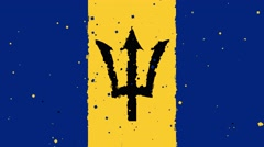 celebratory animated background of flag of Barbados appear from fireworks - stock footage