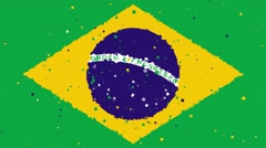 Celebratory animated background of flag of Brazil appear from fireworks Stock Footage