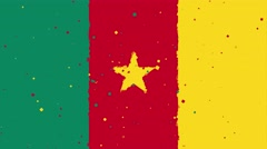 Celebratory animated background of flag of Cameroon appear from fireworks Stock Footage