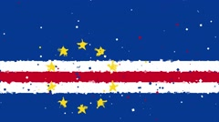 celebratory animated background of flag of Cape Verde appear from fireworks - stock footage