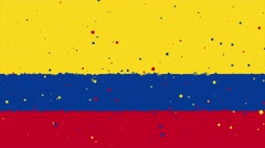 celebratory animated background of flag of Colombia appear from fireworks - stock footage