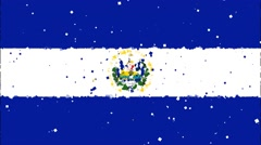 Celebratory animated background of flag of El Salvador appear from fireworks Stock Footage