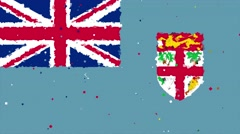 Celebratory animated background of flag of Fiji appear from fireworks Stock Footage