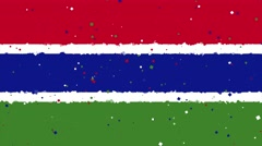 Celebratory animated background of flag of Gambia appear from fireworks Stock Footage