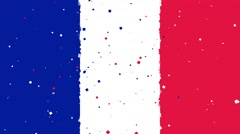 Celebratory animated background of flag of France appear from fireworks Stock Footage