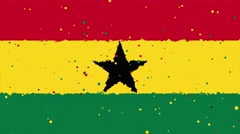 Celebratory animated background of flag of Ghana appear from fireworks Stock Footage