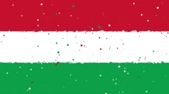 Celebratory animated background of flag of Hungary appear from fireworks Stock Footage