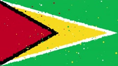 Celebratory animated background of flag of Guyana appear from fireworks Stock Footage
