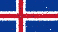 Celebratory animated background of flag of Iceland appear from fireworks Stock Footage