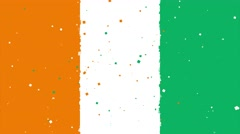 Celebratory animated background of flag of Ivory Coast appear from fireworks Stock Footage