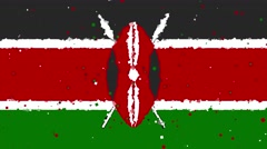 Celebratory animated background of flag of Kenya appear from fireworks Stock Footage