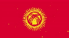 Celebratory animated background of flag of Kyrgyzstan appear from fireworks Stock Footage
