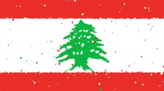 celebratory animated background of flag of Lebanon appear from fireworks - stock footage