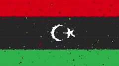 celebratory animated background of flag of Libya appear from fireworks - stock footage