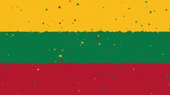 Celebratory animated background of flag of Lithuania appear from fireworks Stock Footage