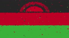 Celebratory animated background of flag of Malawi appear from fireworks Stock Footage