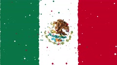 Celebratory animated background of flag of Mexico appear from fireworks Stock Footage