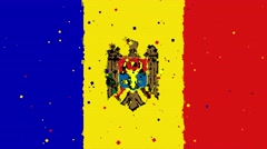Celebratory animated background of flag of Moldova appear from fireworks Stock Footage