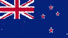 Celebratory animated background of flag of New Zealand appear from fireworks Stock Footage
