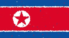 Celebratory animated background of flag of North Korea appear from fireworks Stock Footage