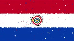 celebratory animated background of flag of Paraguay appear from fireworks - stock footage